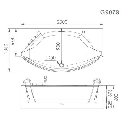 Акриловая ванна Gemy G9079 (фото, вид 5)
