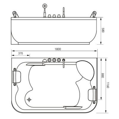 Акриловая ванна Gemy G9085 K L (фото, вид 3)