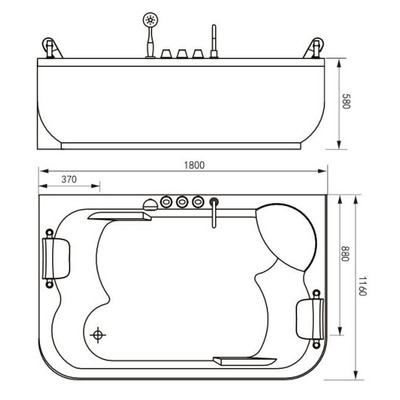 Акриловая ванна Gemy G9085 O L (фото, вид 3)