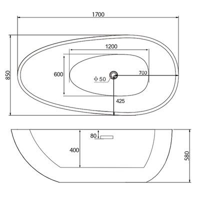 Акриловая ванна Gemy G9211B (фото, вид 3)