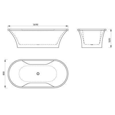 Акриловая ванна Gemy G9228 (фото, вид 3)