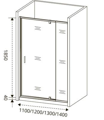 Душевое ограждение GOOD DOOR ORION WTW - PD-140-G-CH (фото, вид 2)