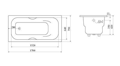 Чугунная ванна Cerutti SPA Elma 1700х750х420 (фото, вид 3)